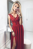 A-Line V Neck Burgundy Prom Dress with Appliques Split Straps Lace Evening Dresses WK736