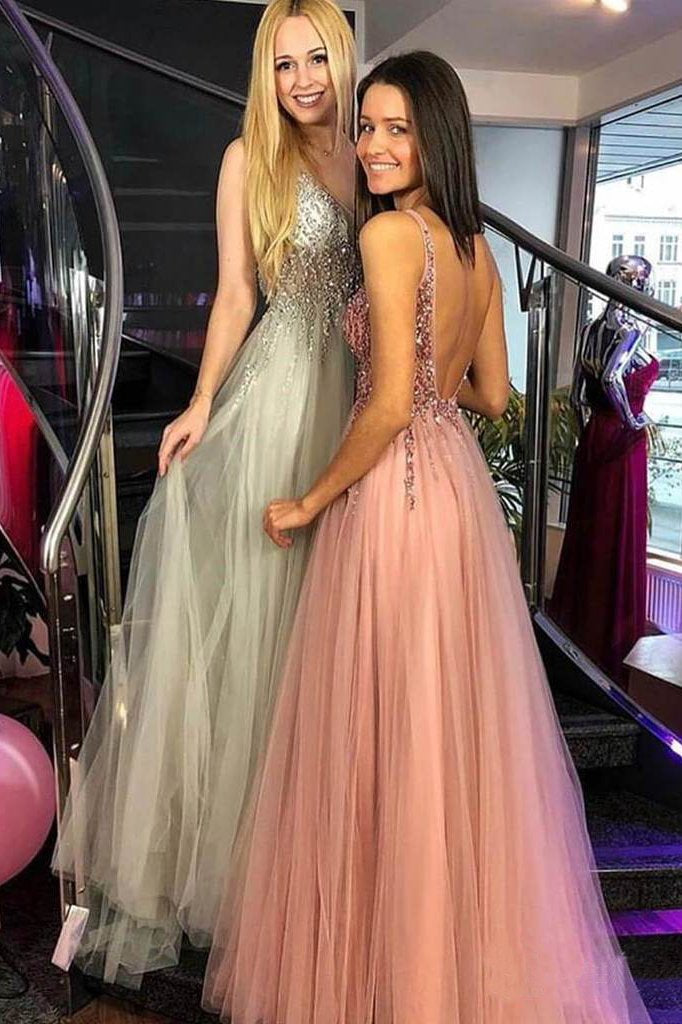 A-line V-Neck Beaded Bodice Tulle Long Prom Dresses Pink Backless Evening Dress WK517