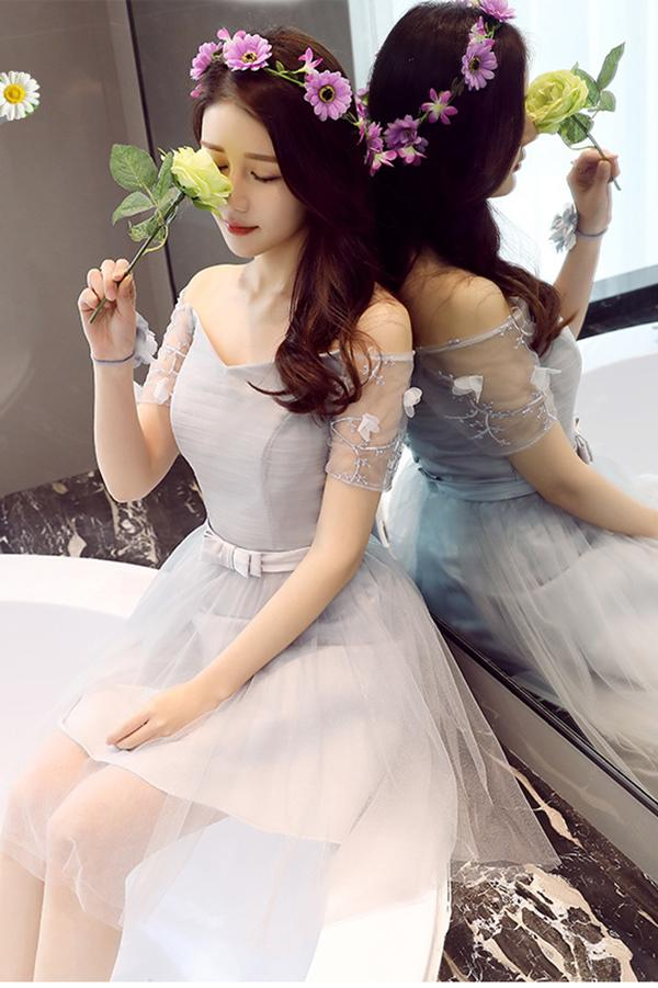 A Line Tulle Short Sleeves Off the Shoulder Gray Lace up Sweetheart Homecoming Dresses WK897
