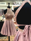 A Line Halter Open Back Chiffon Blush Pink Short Homecoming Dresses with Beading WK984