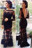 Mermaid Full Sleeve Sexy Black Lace Long Scoop Neck Floor Length Prom Dresses WK143