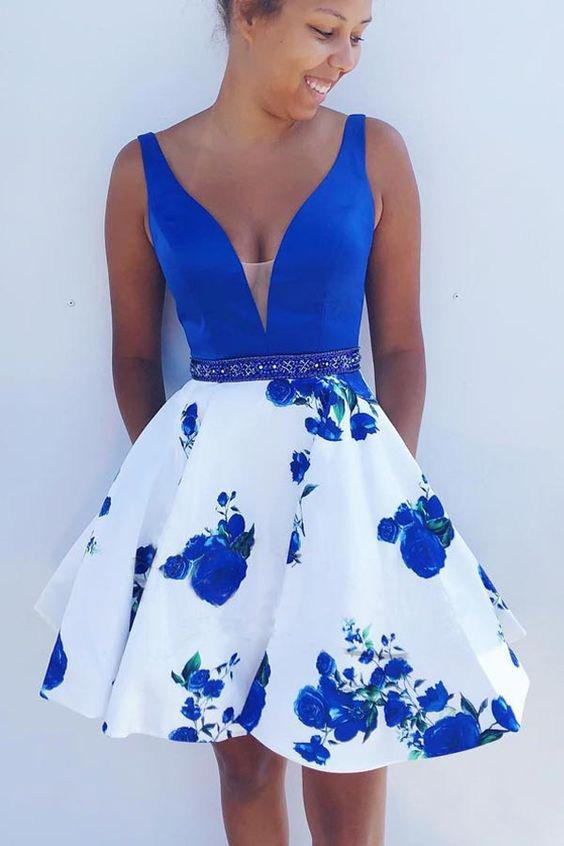 A Line Blue Floral Print V Neck Satin Short Prom Dresses with Pockets Homecoming Dress H1158