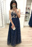 A Line Dark Blue Long Prom Dresses Sequins Sleeveless Evening Party Dresses WK905