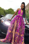 A Line Deep V Neck High Slit Purple Tulle Prom Dresses Long Evening Dresses WK348