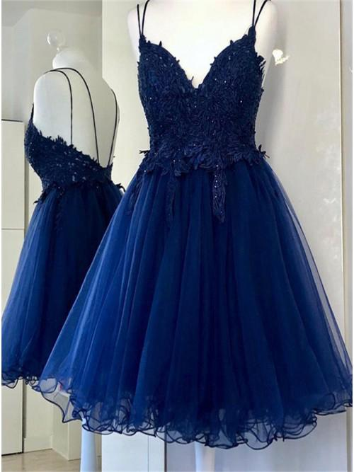 A Line Dual-Strapped Royal Blue V Neck Short Prom Dress with Beads Appliques WK858