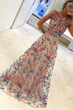 A Line Floral Scoop Sleeveless Prom Dresses with Embroidery Long Formal Dresses WK466