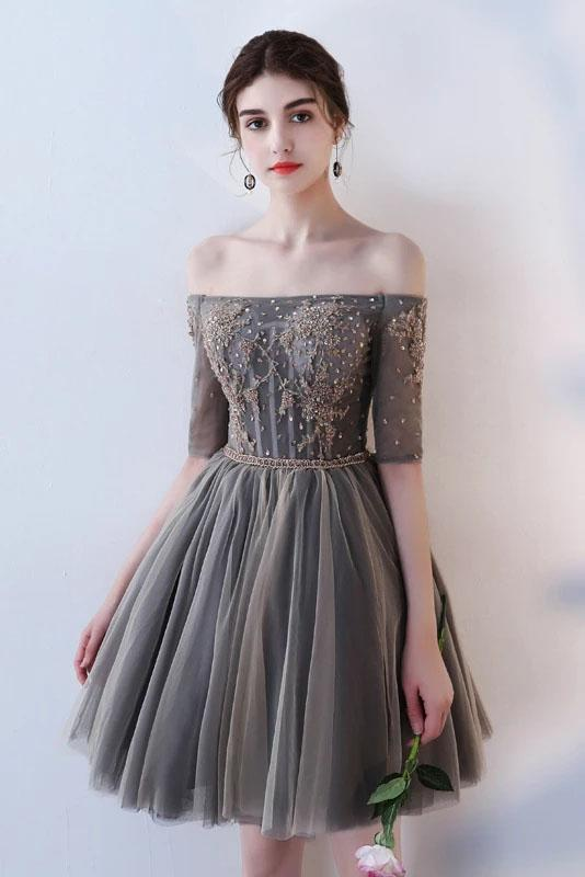 A Line Half Sleeves Gray Off the Shoulder Homecoming Dresses Short Prom Dresses H1135