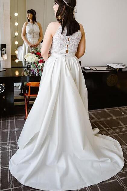 A Line Halter Ivory Satin Sleeveless Wedding Dresses Long Lace Prom Dresses WK431
