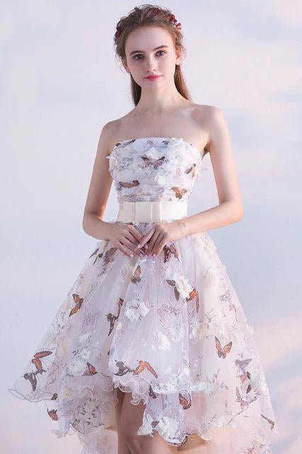 A Line High Low Straps Lace up Tulle Flower Homecoming Dresses Short Prom Dresses WK967