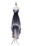 A Line High Low Sweetheart Ombre Homecoming Dresses Strapless Ruffles Prom Dress WK852