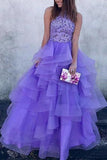 A Line High Neck Ruffles Lavender Ball Gown Prom Dresses with Appliques PW679