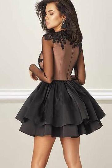 A Line Jewel Long Sleeve Black Above Knee Homecoming Dress with Appliques WK890