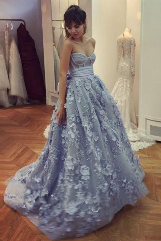A Line Lace Appliques Sweetheart Prom Dresses Long Blue Quinceanera Dresses WK617