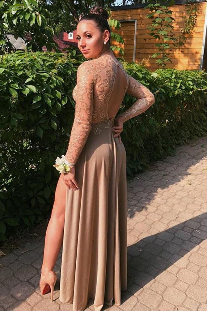 A Line Long Sleeve High Neck Brown Prom Dresses High Slit Floor Length Party Dresses WK932