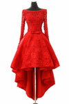 A Line Long Sleeve Red High Low Scoop Lace Homecoming Dresses with Lace Appliques WK835