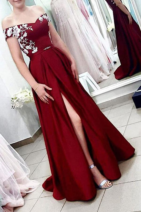 A Line Off the Shoulder Burgundy Satin Split Sweetheart Long Prom Dresses with Lace PW722