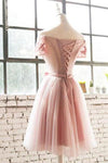 A Line Off the Shoulder Pink Lace Appliques Homecoming Dresses with Tulle Short Dress H1001