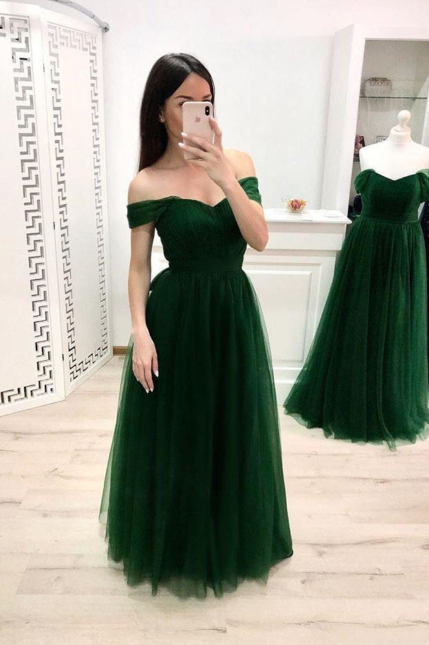 A Line Off the Shoulder Sweetheart Prom Dresses, Long Tulle Green Formal Dresses PW898