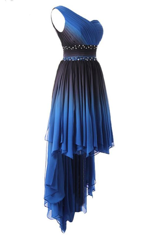 A Line One Shoulder Ombre Chiffon Blue Ruffles Prom Dresses Homecoming Dresses WK875