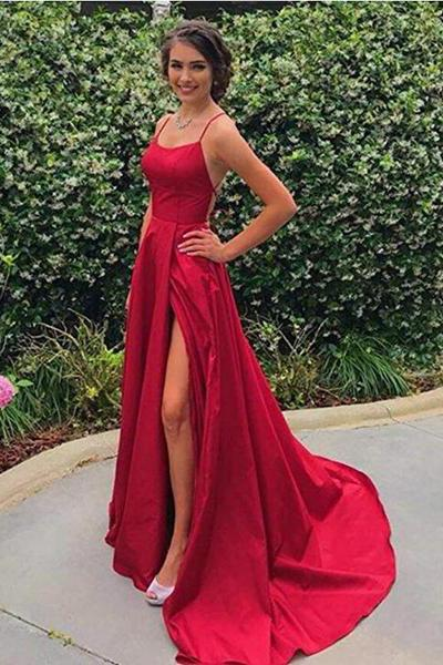A Line Red Sexy Side Slit Spaghetti Straps Cheap Long Prom Dresses Evening Dresses WK830