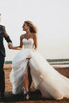 A Line Romantic Sweetheart Strapless Tulle Bridal Gown With Appliques Wedding Dress W1005