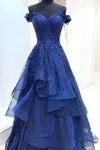 A Line Royal Blue Lace Appliques Sweetheart Beads Long Cheap Prom Dresses with Tulle P1033