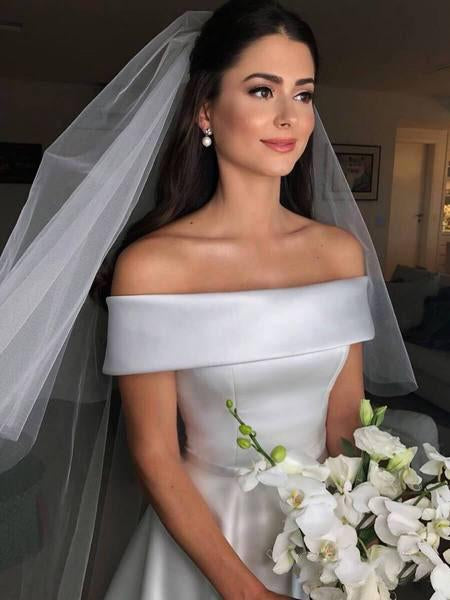 A Line Satin Off the Shoulder Ivory Wedding Dresses Short Sleeves Wedding Gowns WK493