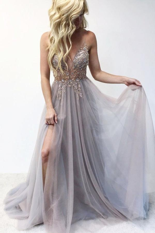 A Line Spaghetti Straps Deep V Neck Beads Tulle Prom Dresses with High Split Party Dress WK979