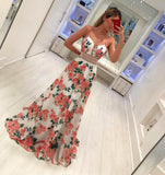 A Line Spaghetti Straps Floral Print V Neck Prom Dresses Simple Party Dresses P1015