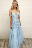 A Line Spaghetti Straps Light Blue Prom Dresses V Neck Lace Appliques Evening Dress WK526