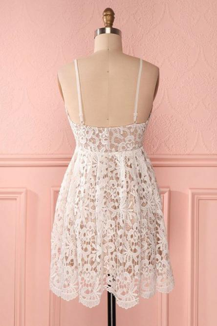 A Line Spaghetti Straps Short Lace Ivory V Neck Homecoming Dress Short Prom Dresses WK857