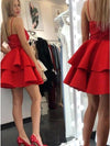 A Line Spaghetti Straps Short Red Tiered Homecoming Dress with Lace Prom Dresses H1170