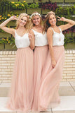 Elegant A Line Spaghetti Straps Sleeveless Pink and White Tulle Bridesmaid Dress with V Neck WK957