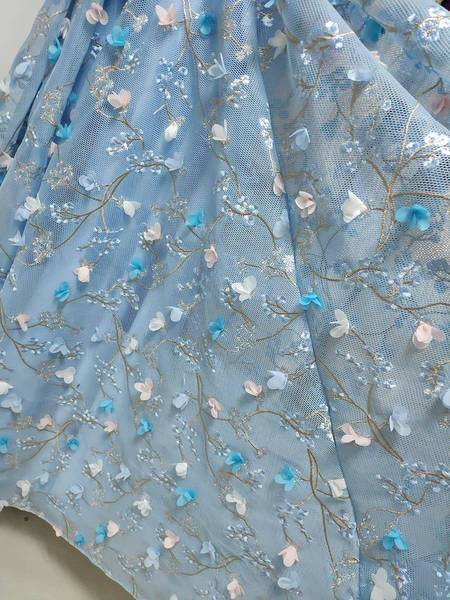 A Line Spaghetti Straps Sweetheart 3D Flower Applique Sky Blue Prom Dresses WK426