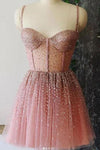 A Line Spaghetti Straps Sweetheart Tulle Beads Homecoming Dresses Short Prom Dresses H1306