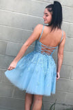 A Line Spaghetti Straps V Neck Blue Lace Appliques Homecoming Dresses with Lace up H1282