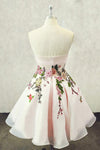 A Line Straps Sweetheart Pink Homecoming Dresses with Floral Print Short Prom Dress WK826
