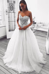 A Line Sweetheart Strapless Tulle Ivory Wedding Dresses with Beads Wedding Gowns W1083