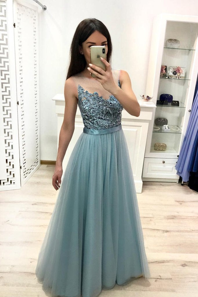 A Line Tulle Blue Floor Length Prom Dresses Beaded Long Evening Graduation Dresses WK901