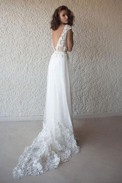 A Line Tulle Lace Appliques Wedding Dresses Short Sleeve Backless V Neck Bridal Dress WK494