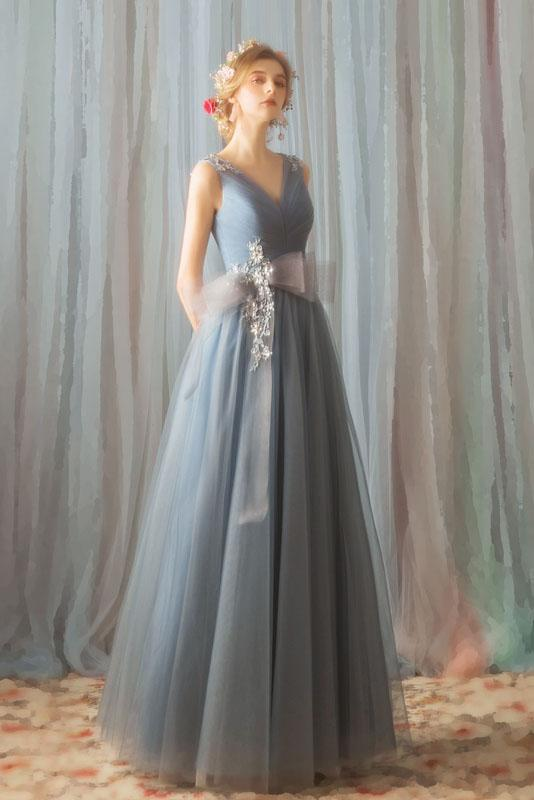 A Line Tulle V Neck Ruffles Prom Dresses Long Cheap Evening Dresses WK355