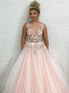 A Line Tulle V Neck Prom Dresses Beads Pink Lace Appliques Backless Evening Dresses WK533