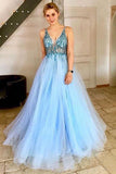 A Line V-Neck Tulle Backless Prom Dress with Sequins Appliques Long Evening Dresses WK362