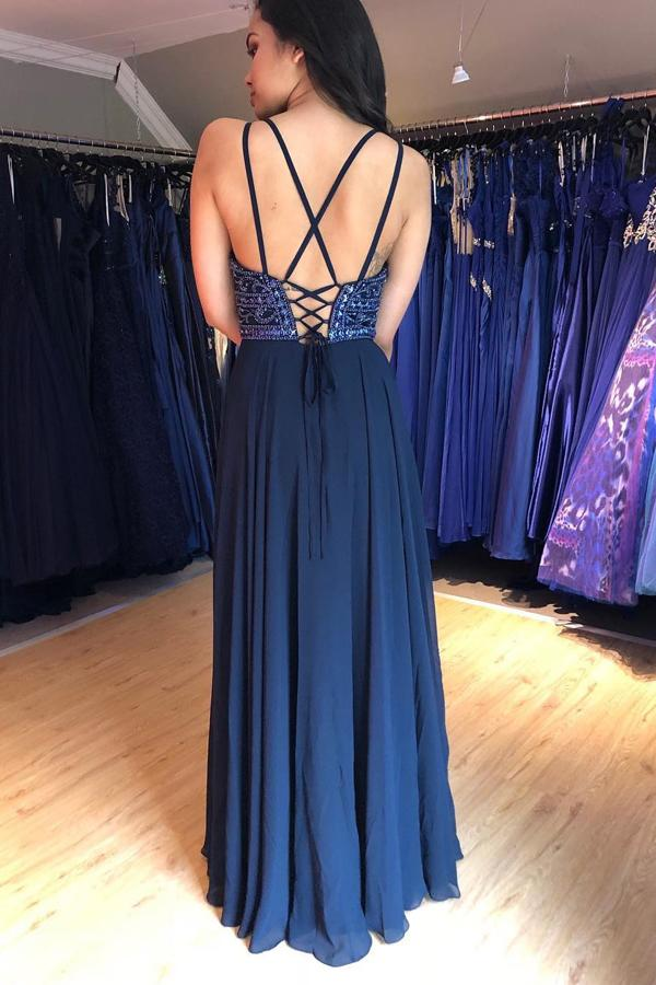 A Line V Neck Lace up Navy Blue Chiffon Long Prom Dresses with Beads Party Dresses P1007