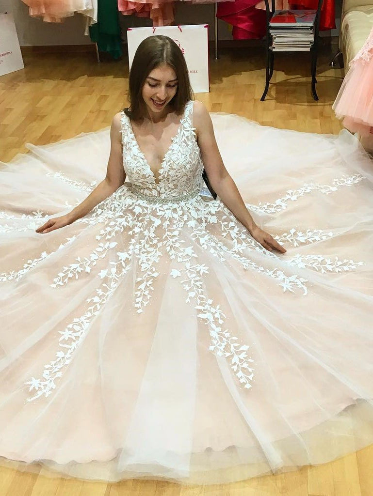 A Line V Neck Long Ivory Lace Appliques Wedding Dresses Beads Tulle Prom Dresses WK598