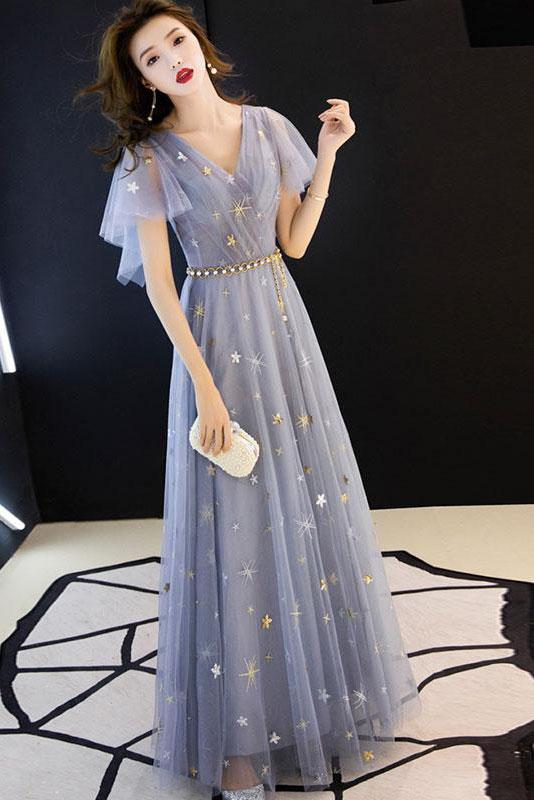 A Line V Neck Long Prom Dresses Short Sleeves Long Formal Dresses Dance Dresses P1051