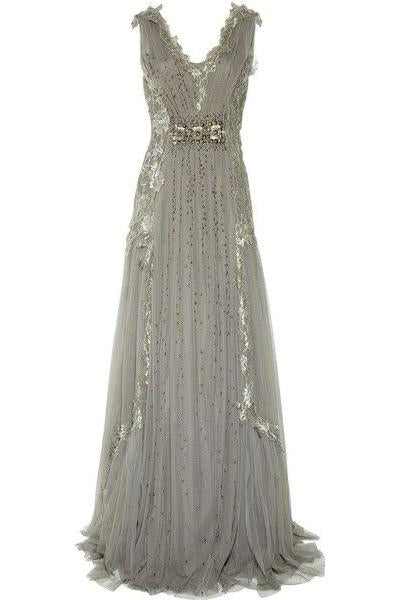 A Line V Neck Ruffles Tulle Gray Prom Dresses Long Sequins Evening Dresses WK580