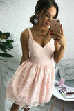 A Line V Neck Short Pearl Pink Lace Appliques Sleeveless Knee Length Homecoming Dress H1015
