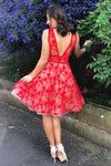 A Line V Neck Short Red Lace Appliques Backless Formal Dresses Homecoming Dresses H1134