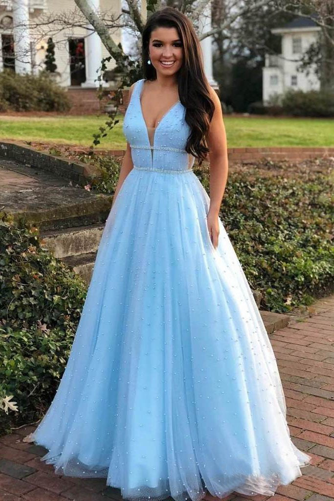 A Line V Neck Tulle Light Blue Prom Dresses Floor Length Beads Evening Gowns WK528